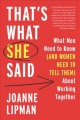 Go to record That's what she said : what men need to know (and women ne...